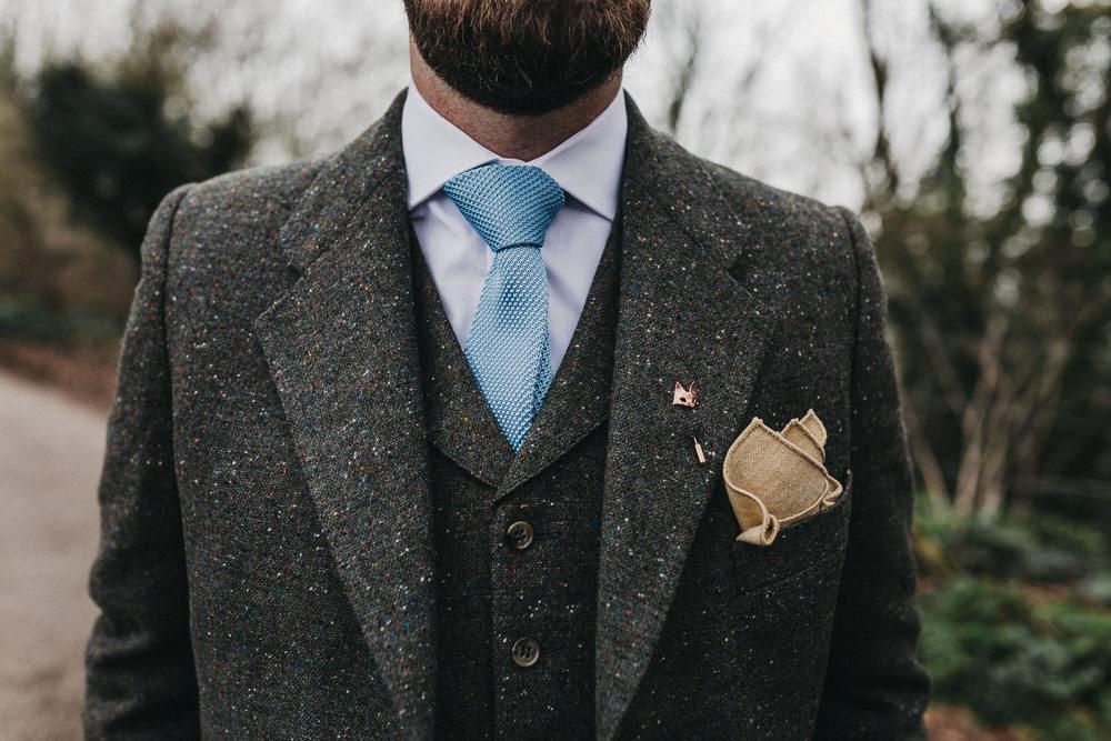 Tweed Suit Groom Blue Tie Three Piece Waistcoat Pocket Square Lympne Castle Wedding Kev Elkins Photography