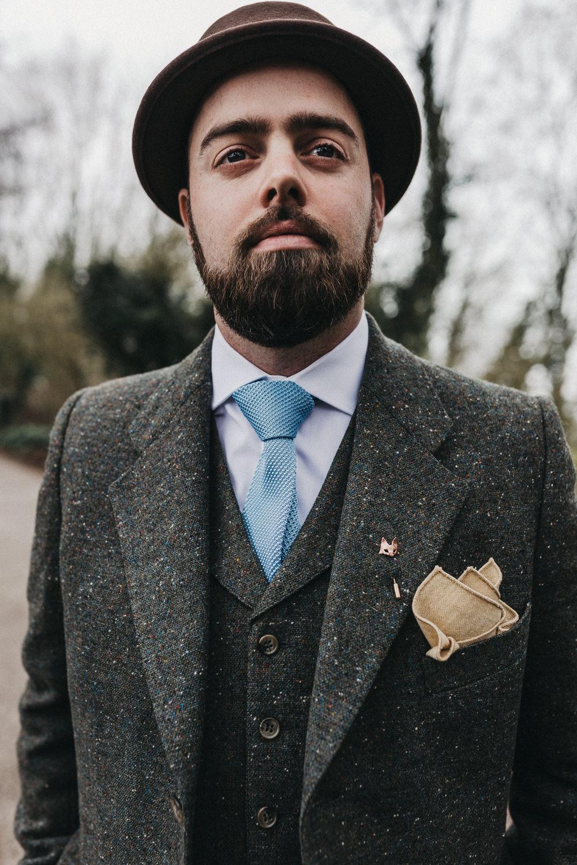 Tweed Suit Groom Blue Tie Three Piece Waistcoat Hat Pocket Square Lympne Castle Wedding Kev Elkins Photography