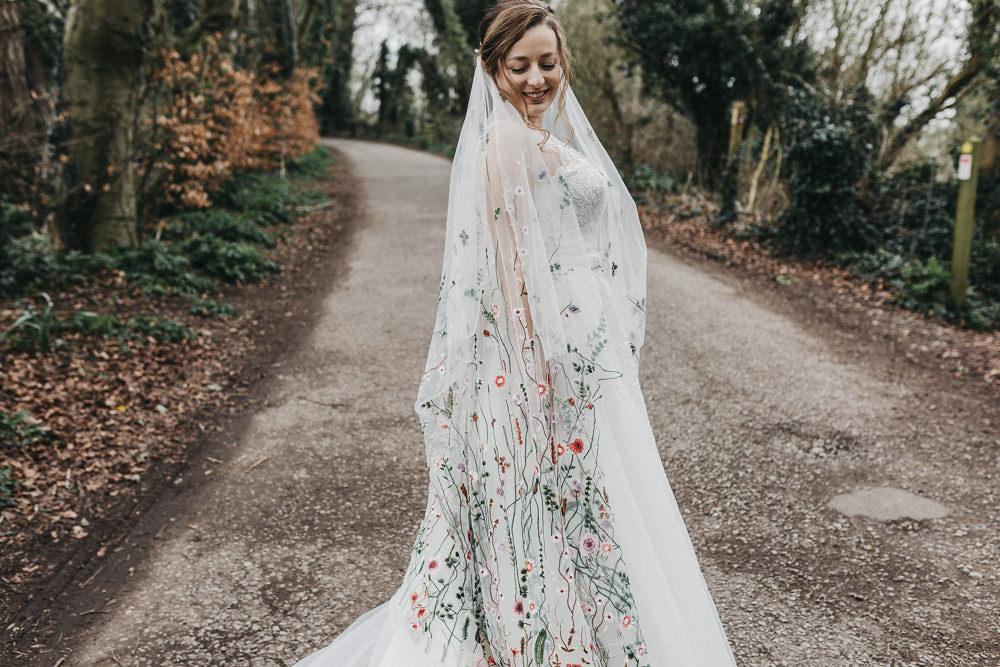 Bride Bridal Strappy Dress Lace Floral Veil Plait Gypsophila Lympne Castle Wedding Kev Elkins Photography