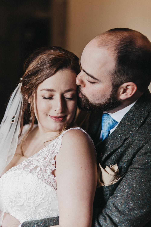 Bride Bridal Strappy Dress Lace Floral Veil Lympne Castle Wedding Kev Elkins Photography