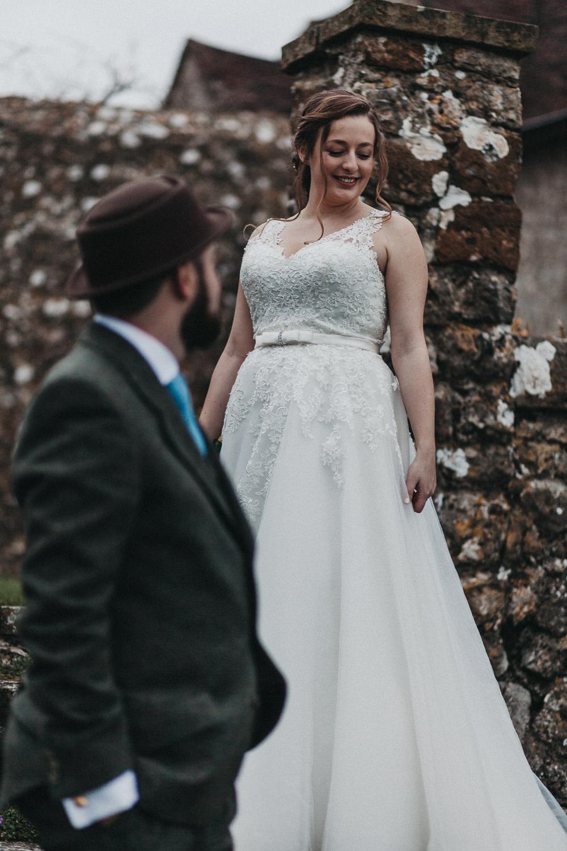 Bride Bridal Strappy Dress Lace Plait Gypsophila Lympne Castle Wedding Kev Elkins Photography