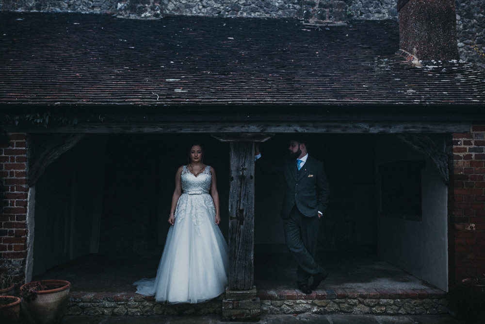 Bride Bridal Strappy Dress Lace Tweed Suit Groom Three Piece Waistcoat Lympne Castle Wedding Kev Elkins Photography