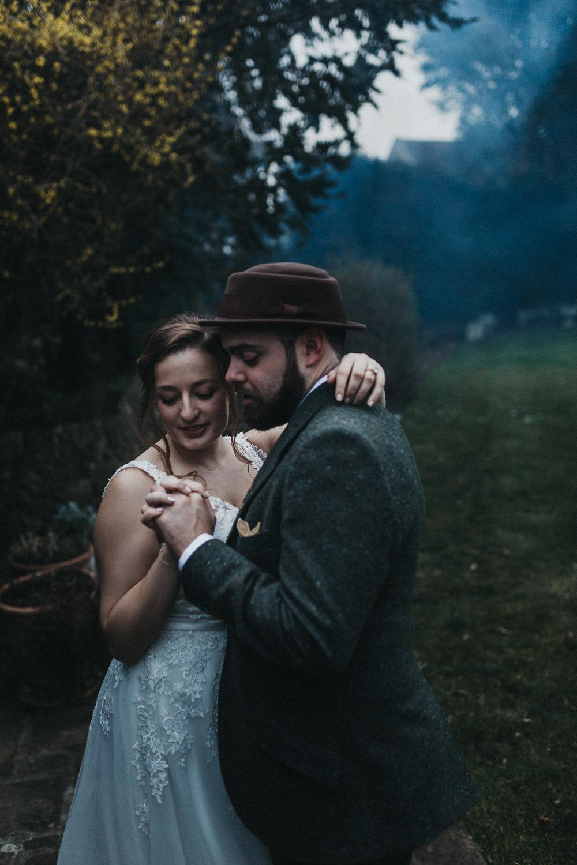 Bride Bridal V Neck Embellished Tweed Suit Groom Hat Lympne Castle Wedding Kev Elkins Photography