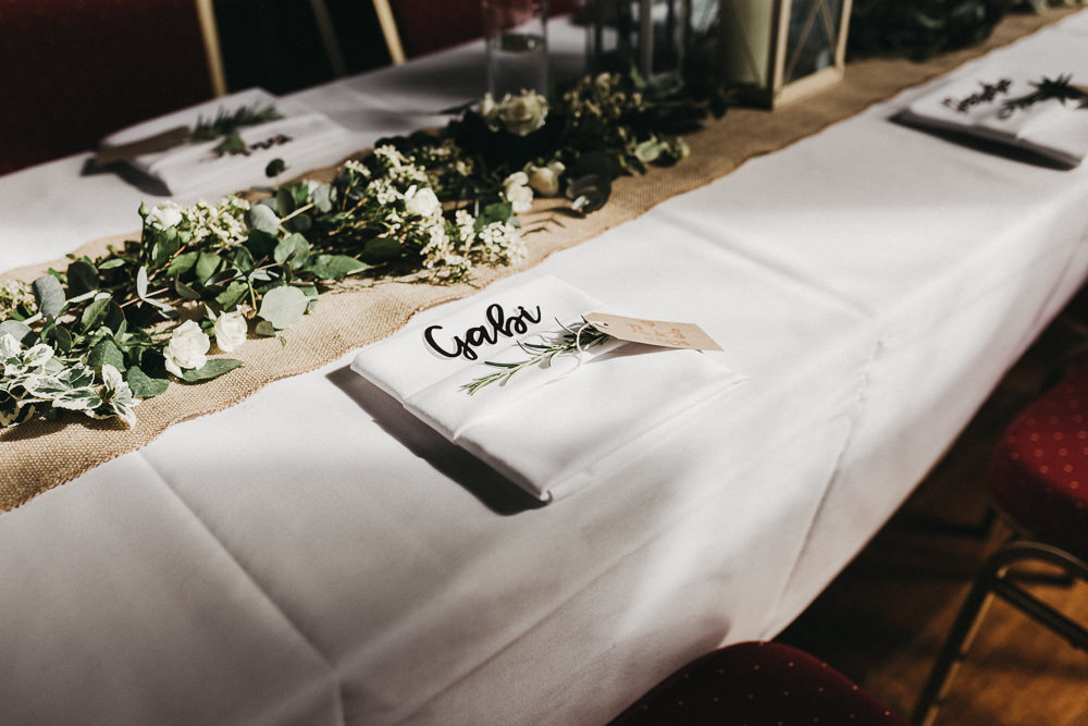 Table Setting Foliage Runner Hessian Rosemary Laser Cut Place Name Lympne Castle Wedding Kev Elkins Photography