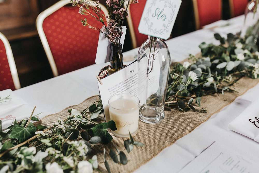 Hessian Runner Foliage Bottle Candles Lympne Castle Wedding Kev Elkins Photography
