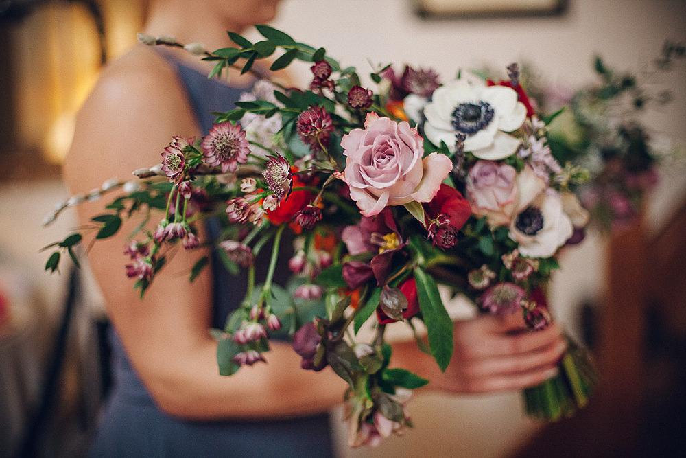Bride Bridal Pink Rose Anemone Bouquet Merriscourt Barn Wedding Cotswolds Katie de Silva Photography