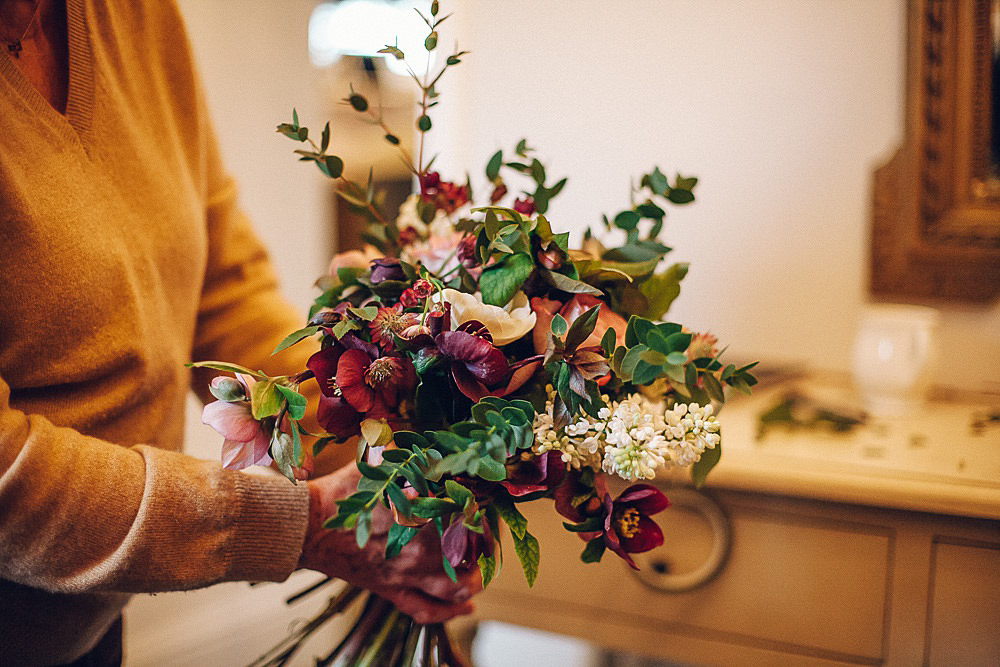 Bride Bridal Bridesmaids Bouquet Foliage Deep Red Flowers Merriscourt Barn Wedding Cotswolds Katie de Silva Photography
