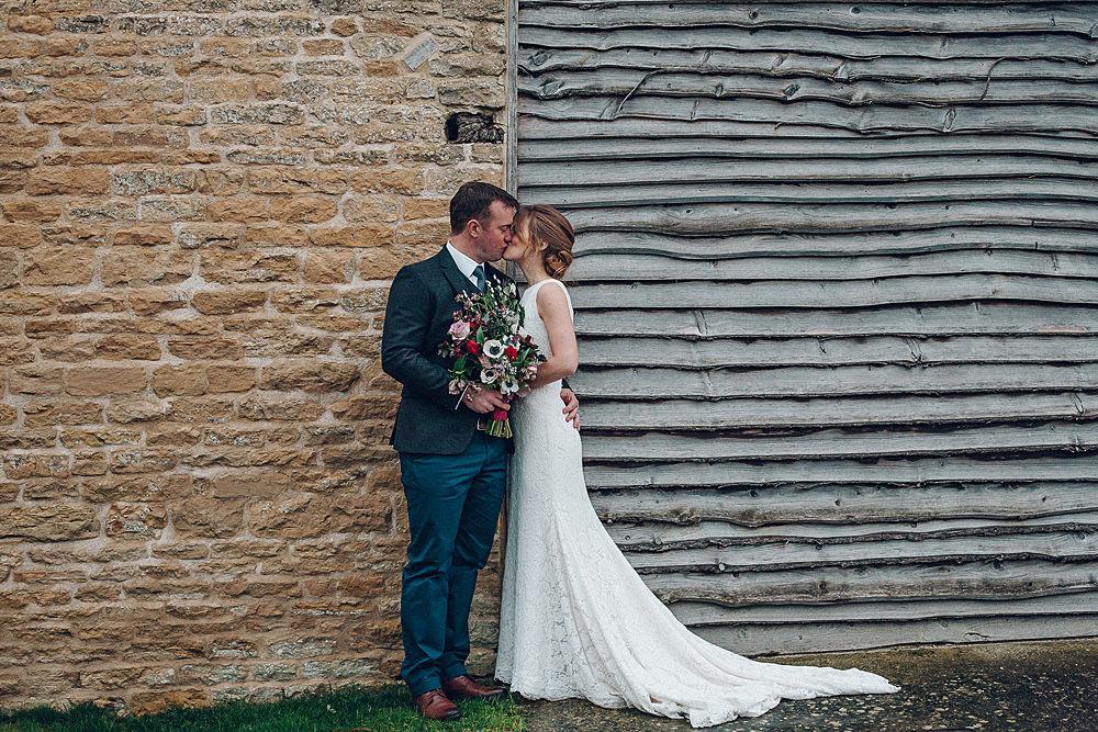 Bride Bridal Lace Boat Neck Cut Out Back Pronovias Dress Tweed Groom Bouquet Merriscourt Barn Wedding Cotswolds Katie de Silva Photography