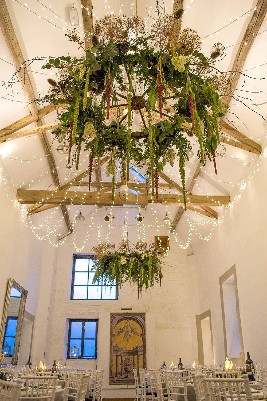 Foliage Chandelier Pea Light Fairy Lights Merriscourt Barn Wedding Cotswolds Katie de Silva Photography