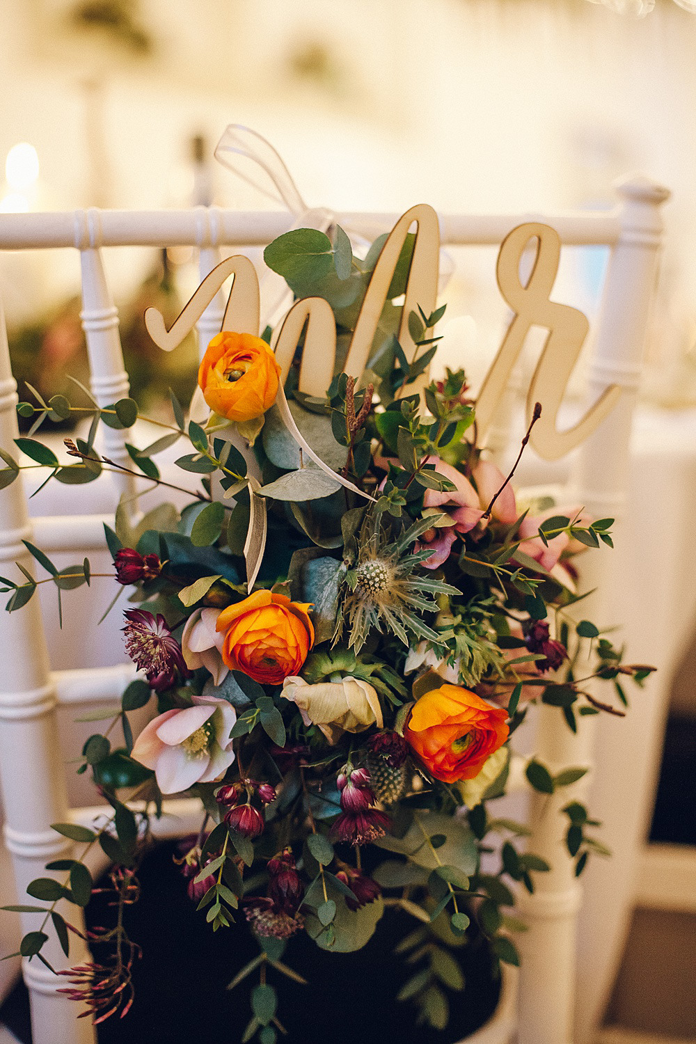 Mr & Mrs Chair Back Sign Laser Cut Wood Floral Flowers Foliage Merriscourt Barn Wedding Cotswolds Katie de Silva Photography