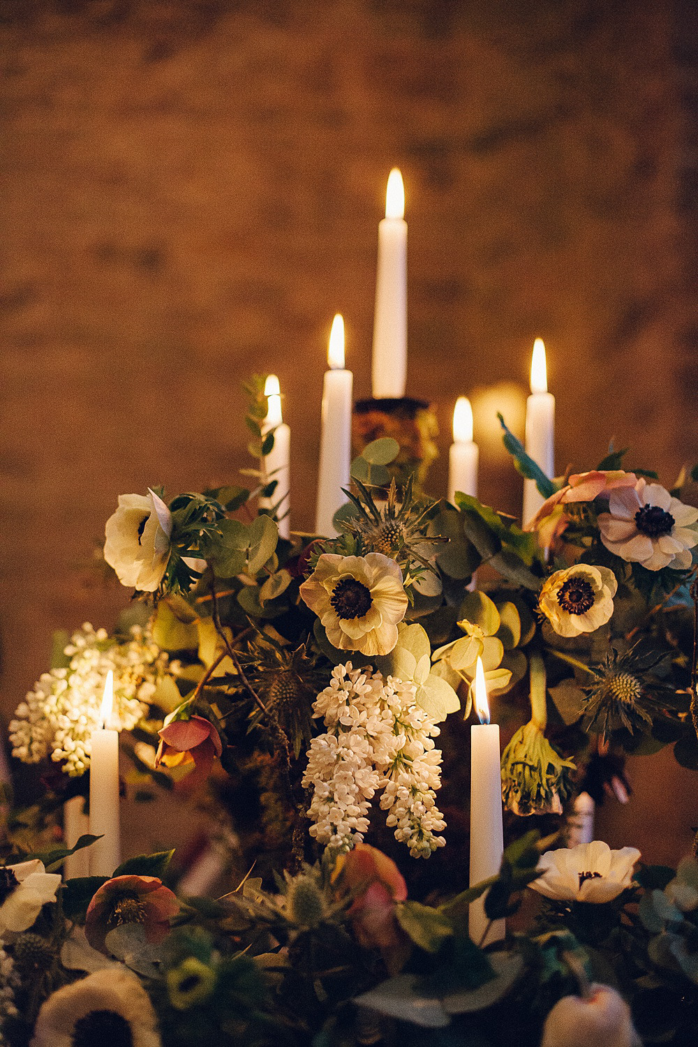 Floral Flowers Candle Candlelight Merriscourt Barn Wedding Cotswolds Katie de Silva Photography