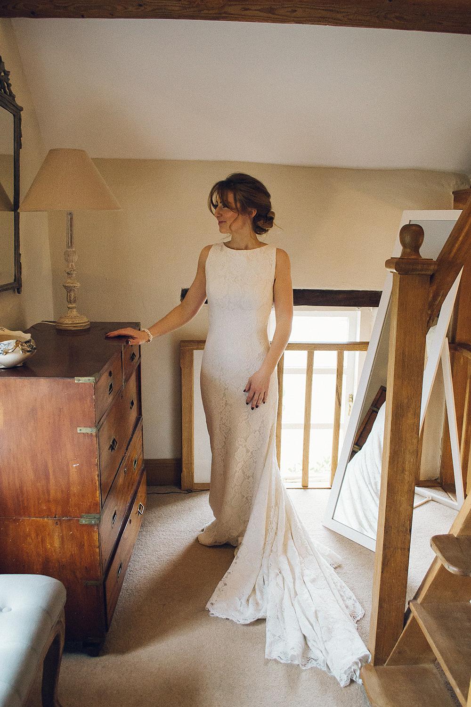 Bride Bridal Lace Boat Neck Dress Pronovias Merriscourt Barn Wedding Cotswolds Katie de Silva Photography