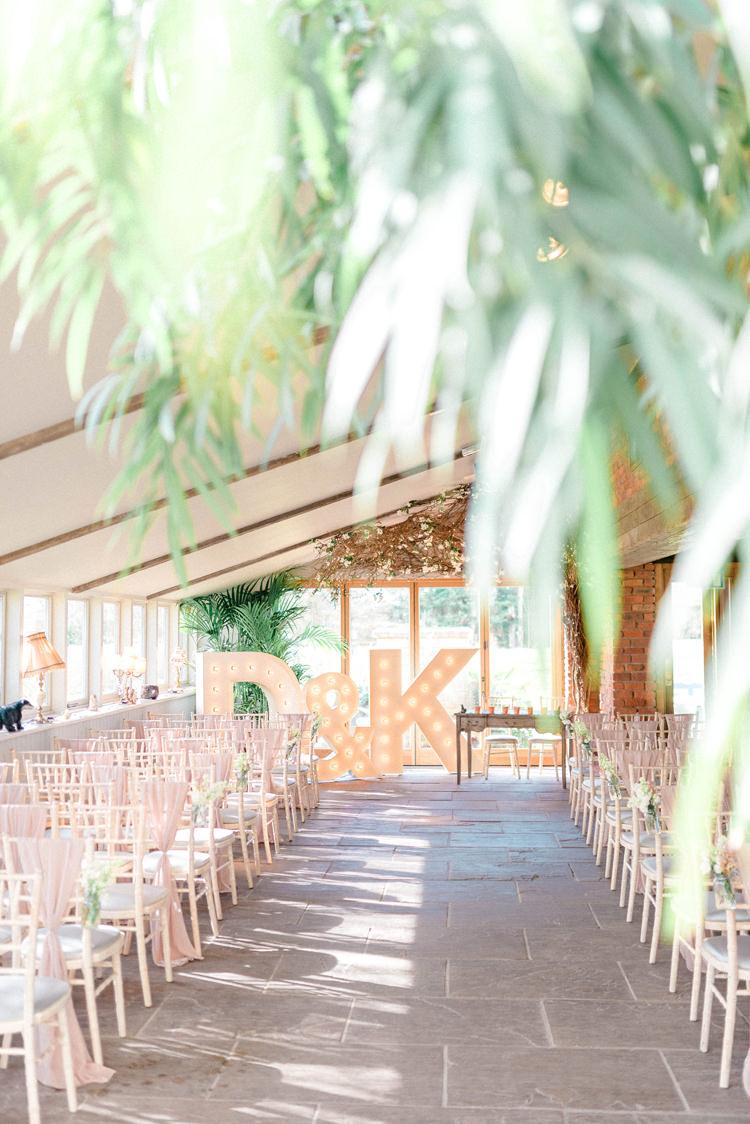Ceremony Letter Lights Aisle Newton Hall Wedding Sarah-Jane Ethan Photography