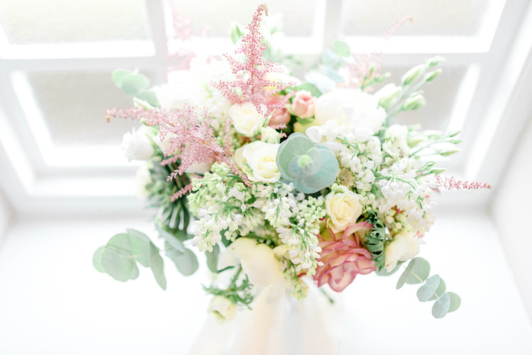 Bouquet Flowers Bride Bridal Pastel Astilbe Eucalyptus Peony Anemones Newton Hall Wedding Sarah-Jane Ethan Photography