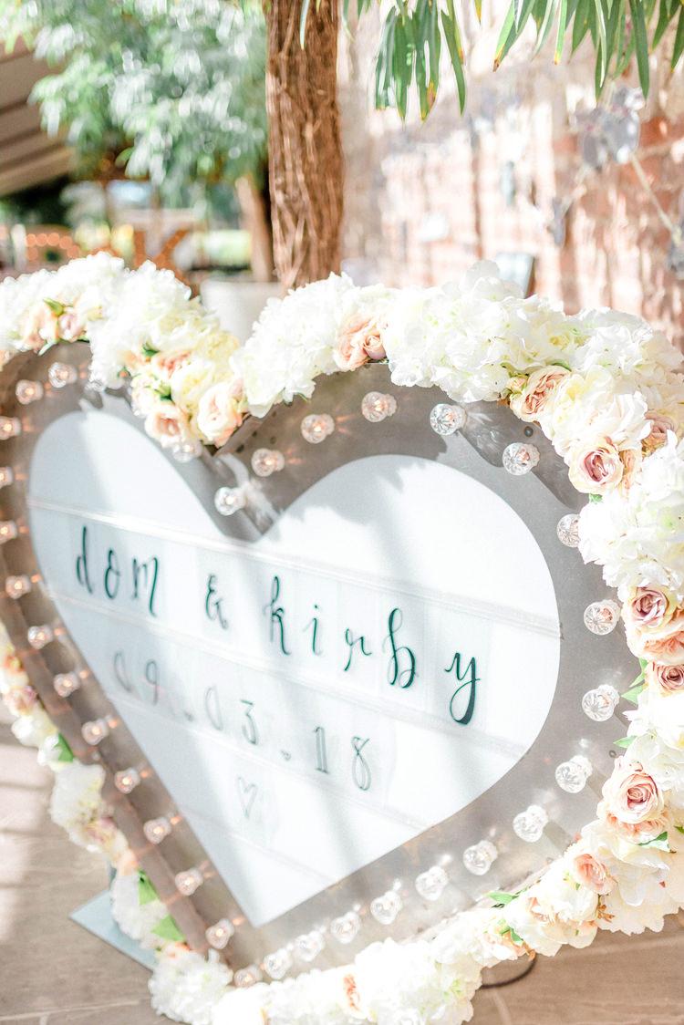 Love Heart Sign Light Flowers Newton Hall Wedding Sarah-Jane Ethan Photography