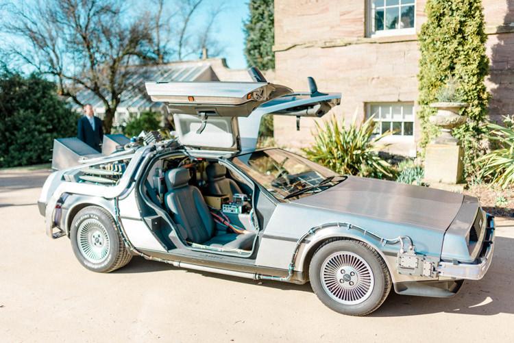 Back To The Future Car Transport Newton Hall Wedding Sarah-Jane Ethan Photography