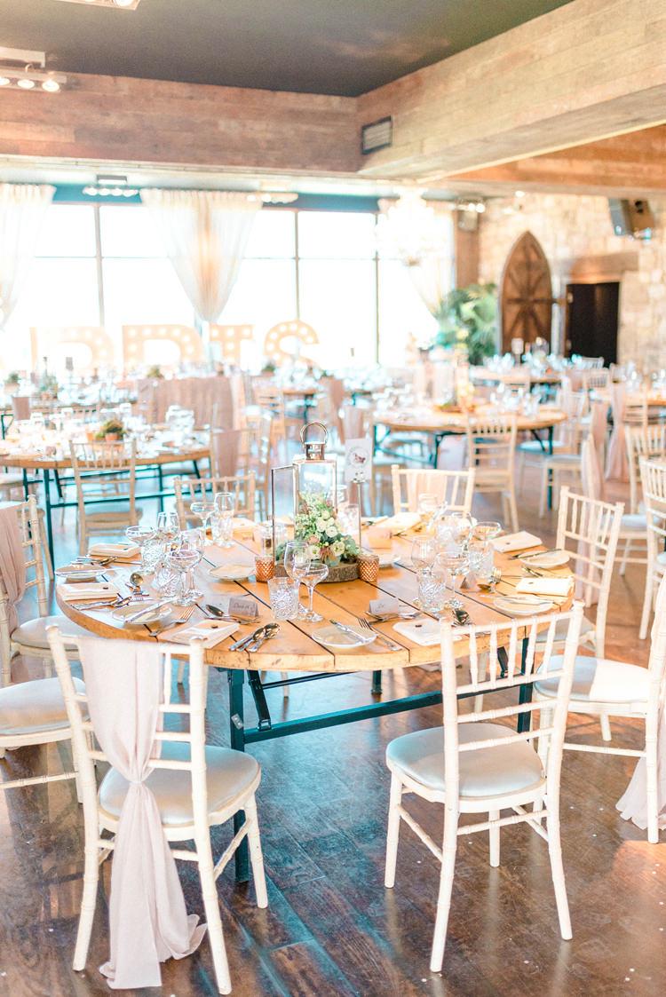Round Wooden Tables Decor Newton Hall Wedding Sarah-Jane Ethan Photography