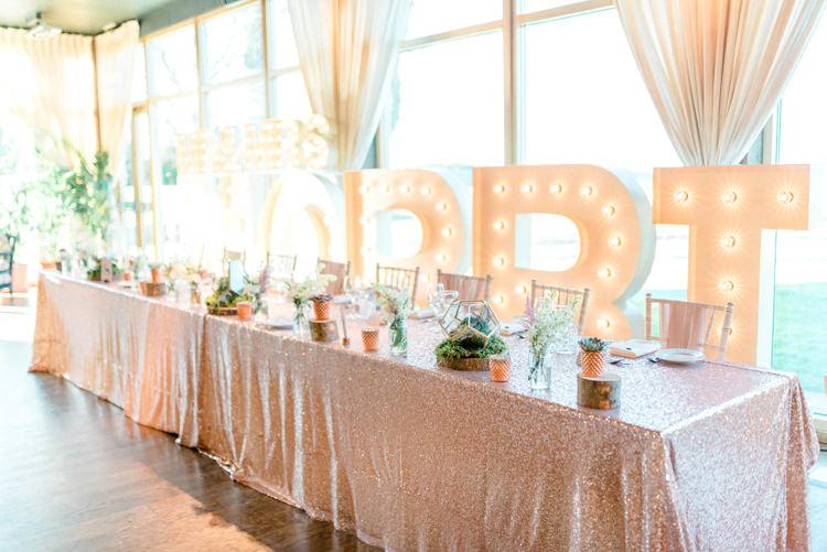 Sequin Table Cloths Letter Lights Decor Flowers Tablescape Pink Newton Hall Wedding Sarah-Jane Ethan Photography