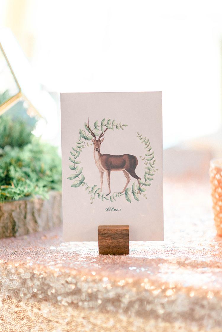 Deer Stationery Table Name Newton Hall Wedding Sarah-Jane Ethan Photography