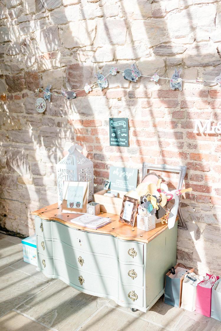 Pastel Drawers Cards Decor Newton Hall Wedding Sarah-Jane Ethan Photography