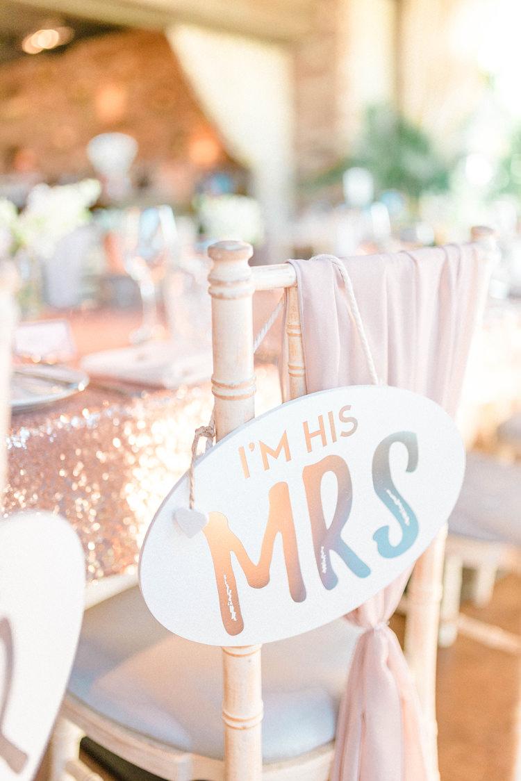 MRS Sign Chair Newton Hall Wedding Sarah-Jane Ethan Photography