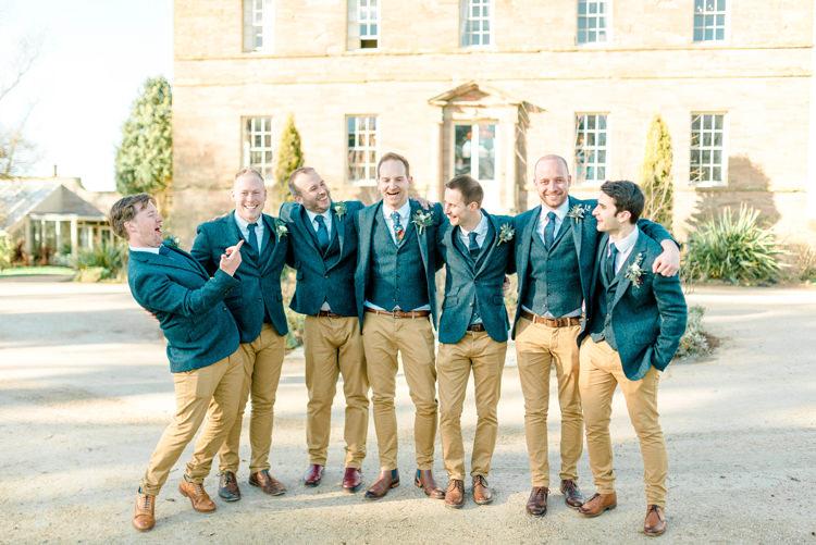 Groom Suit Blue Tweed Jacket Waistcoat Chonos Brown Floral Tie Groomsmen Newton Hall Wedding Sarah-Jane Ethan Photography
