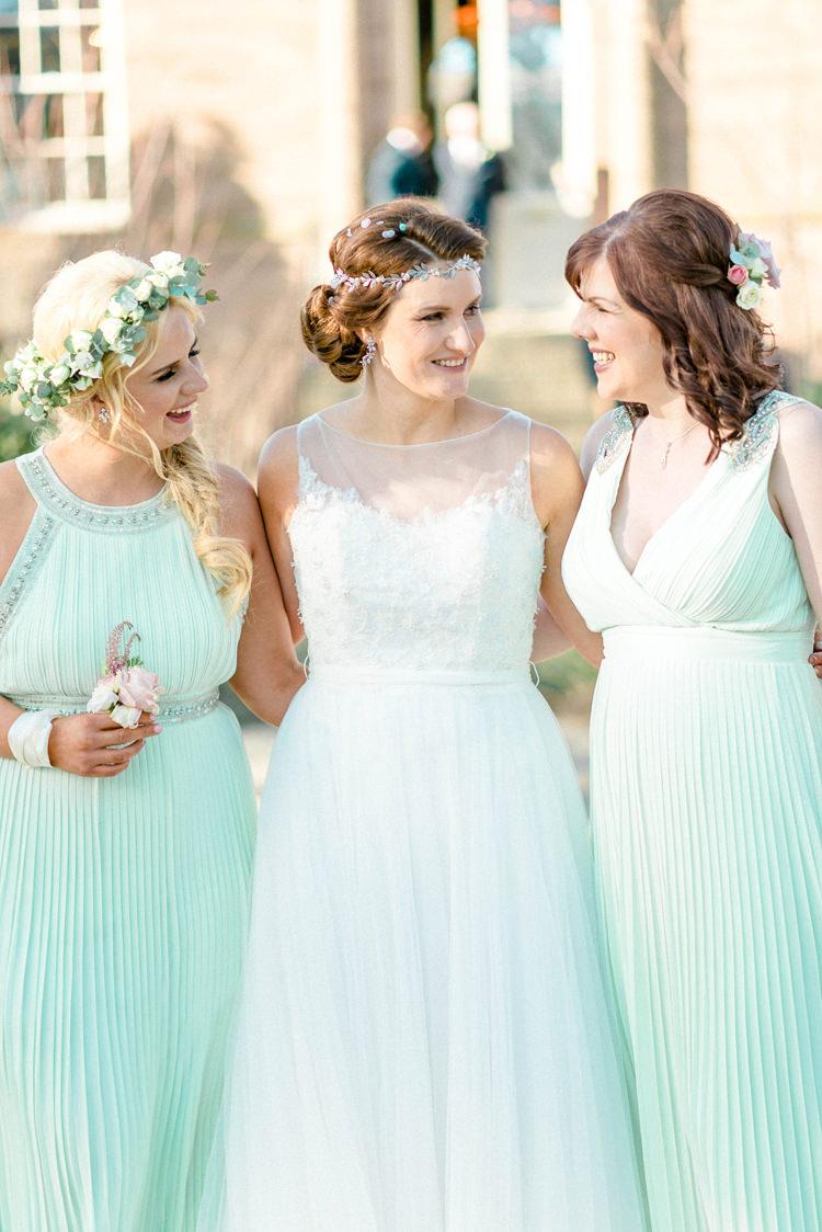 Mint Green Bridesmaid Dresses Long Newton Hall Wedding Sarah-Jane Ethan Photography