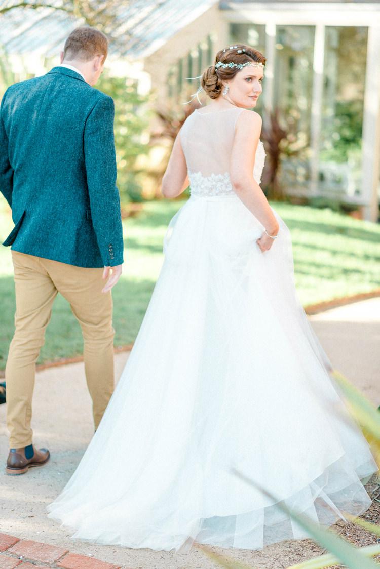Tulle Dress Bride Bridal Gown Train Newton Hall Wedding Sarah-Jane Ethan Photography