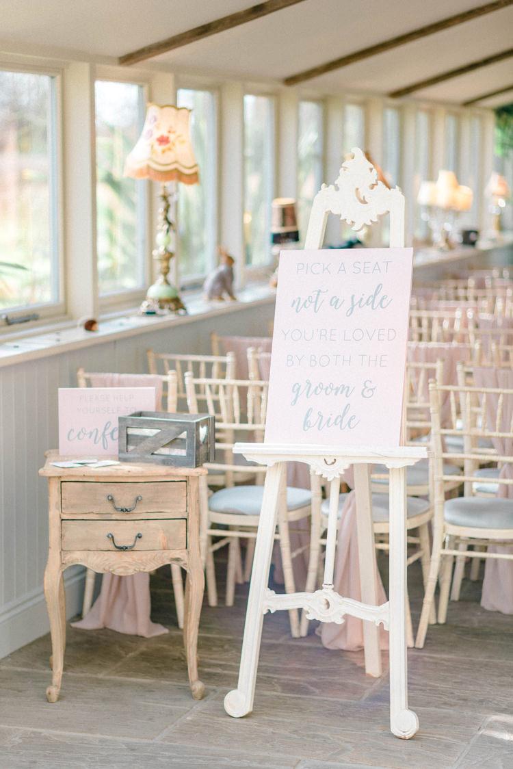 PasteL Pink Ceremony Sign Newton Hall Wedding Sarah-Jane Ethan Photography