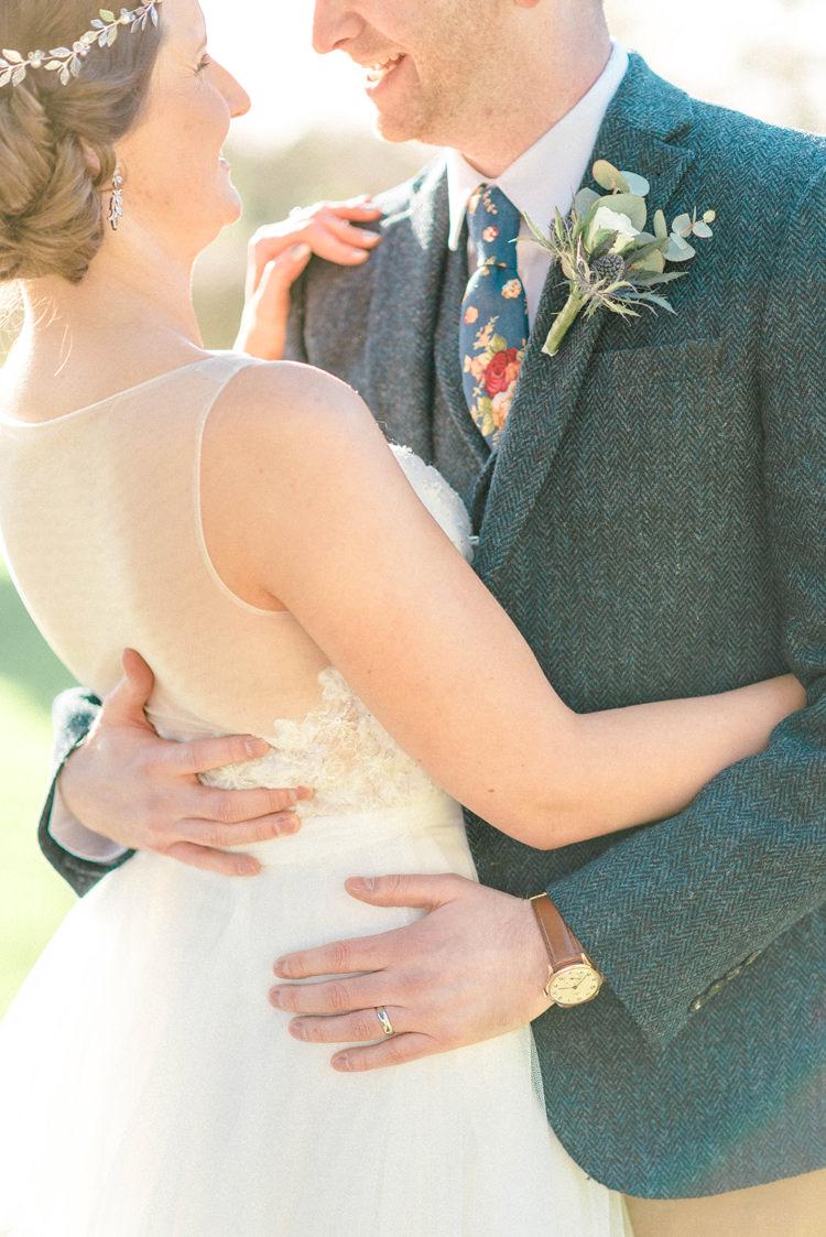 Groom Suit Blue Tweed Jacket Waistcoat Chonos Brown Floral Tie Newton Hall Wedding Sarah-Jane Ethan Photography