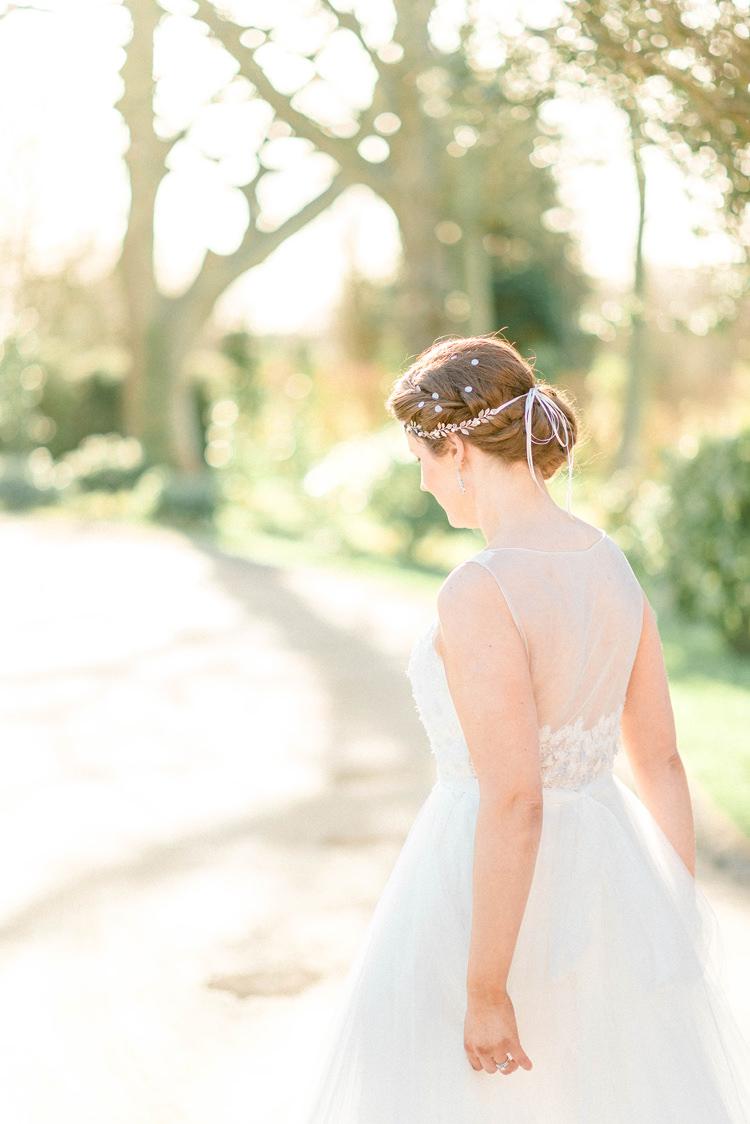 Tulle Dress Bride Bridal Gown Train Hair Vine Newton Hall Wedding Sarah-Jane Ethan Photography