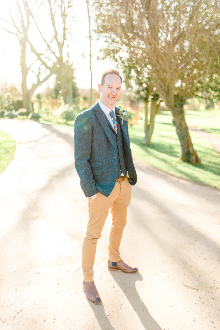 Groom Suit Blue Tweed Jacket Waistcoat Chonos Brown Floral Tie Boots Newton Hall Wedding Sarah-Jane Ethan Photography
