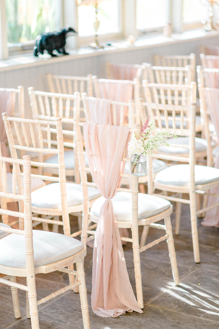 Chair Covers Drapes Pink Flowers Aisle Ceremony Newton Hall Wedding Sarah-Jane Ethan Photography