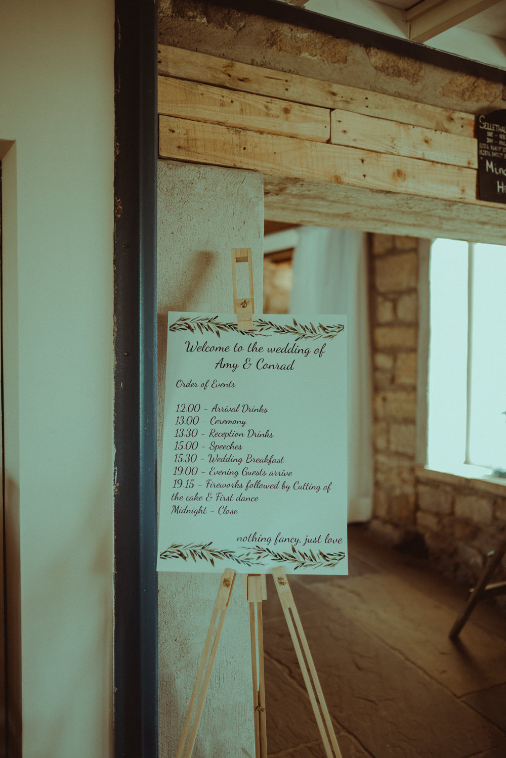 Welcome Sign Easel Stationery Botanical Greenery Northside Farm Wedding Belle Art Photography