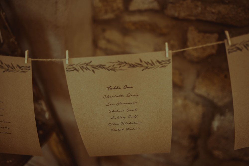 Stationery Kraft Brown Paper Botatical Greenery Pegs Line Seating Plan Table Chart Northside Farm Wedding Belle Art Photography