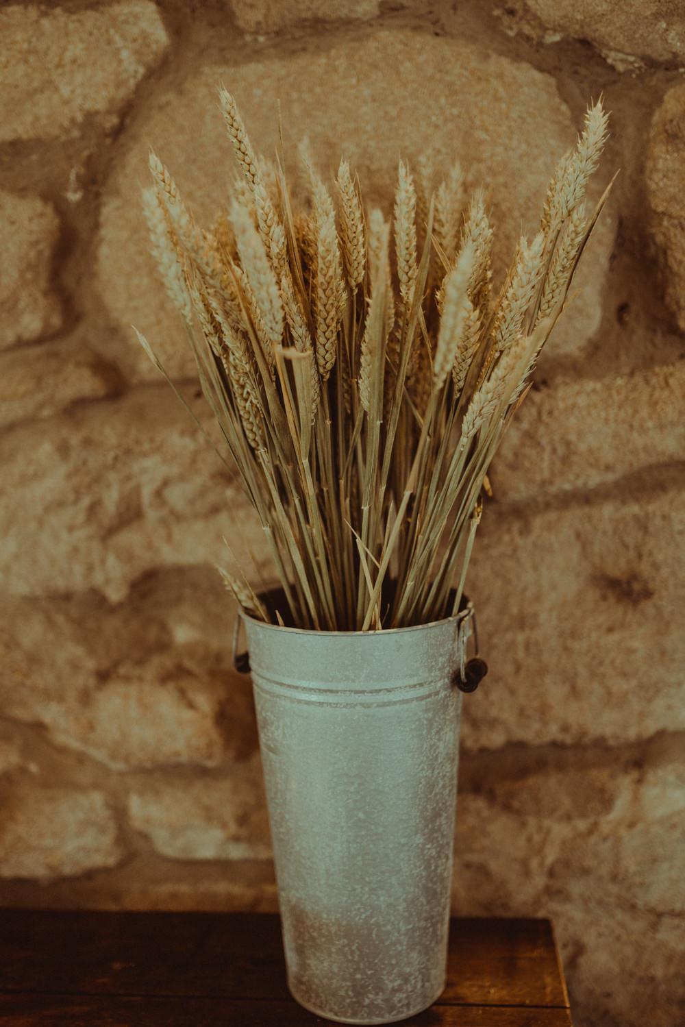 Wheat Galvanized Bucket Northside Farm Wedding Belle Art Photography