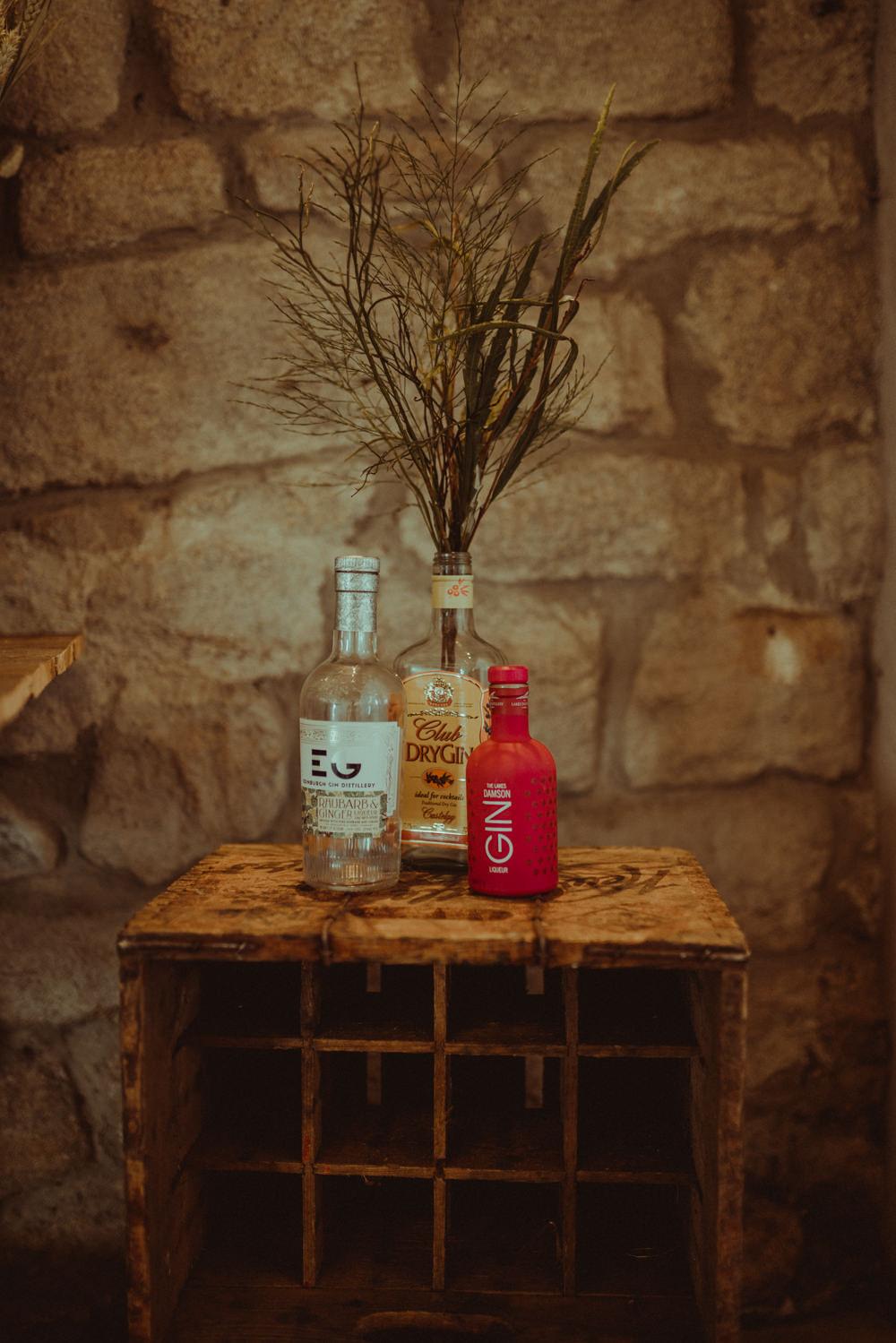 Gin Bottles Wooden Box Branches Decor Northside Farm Wedding Belle Art Photography