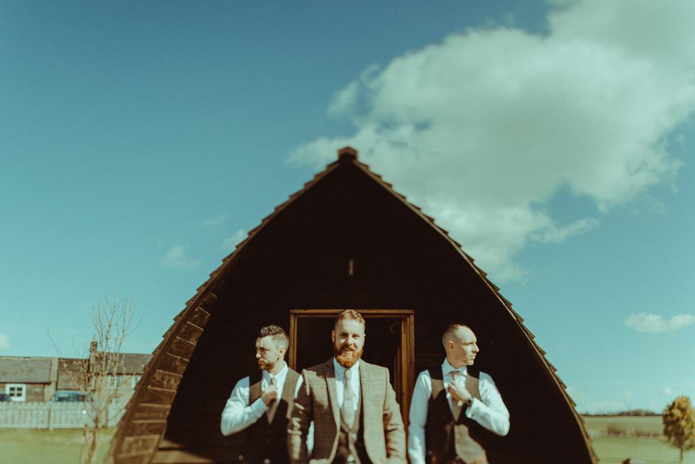 Groom Groomsmen Tweed Suit Chinos Ties Northside Farm Wedding Belle Art Photography