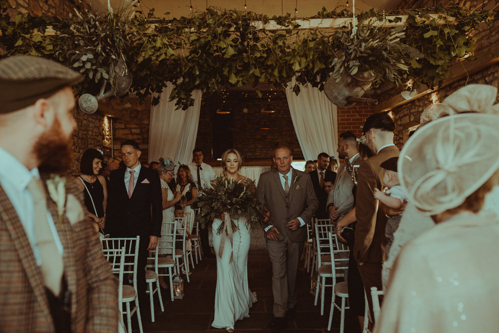 Greenery Garland Watering Can Swag Hanging Suspended Northside Farm Wedding Belle Art Photography