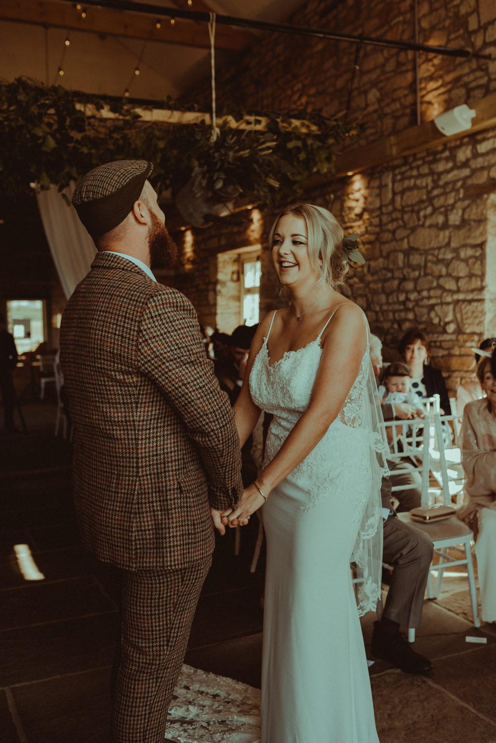 Lace Dress Gown Fit Flare Straps Low Back Bride Bridal Train Northside Farm Wedding Belle Art Photography