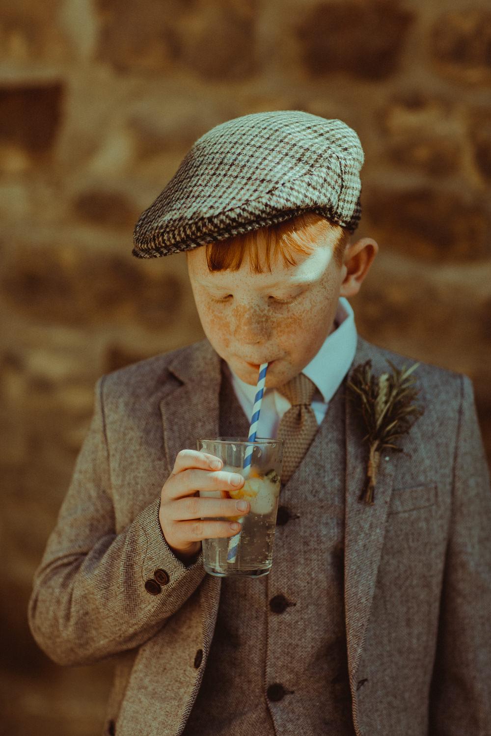 Page Boy Tweed Suit Ties Flat Cap Hat Northside Farm Wedding Belle Art Photography