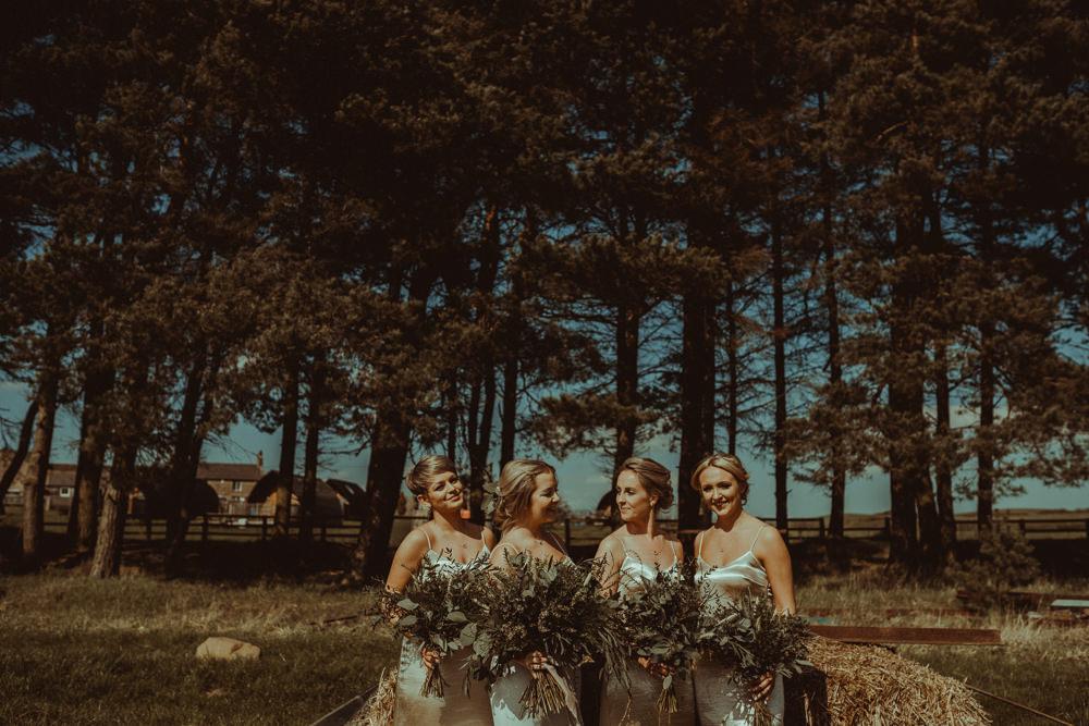 Silk Strap Bridesmaid Dresses Greenery Foliage Bouquets Bridal Northside Farm Wedding Belle Art Photography