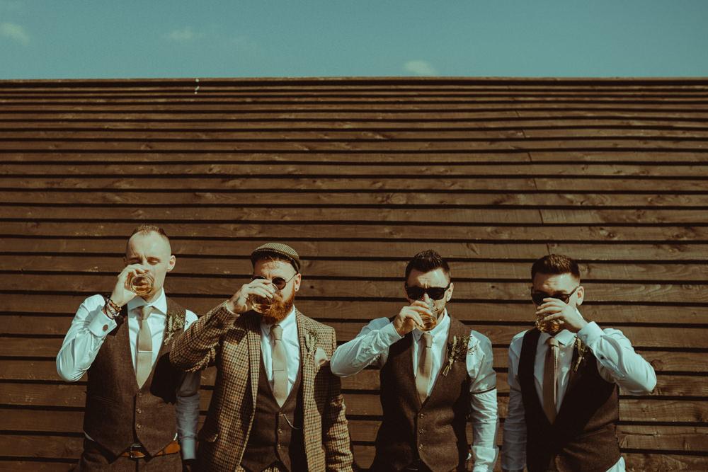Groom Groomsmen Tweed Suit Ties Flat Cap Hat Northside Farm Wedding Belle Art Photography