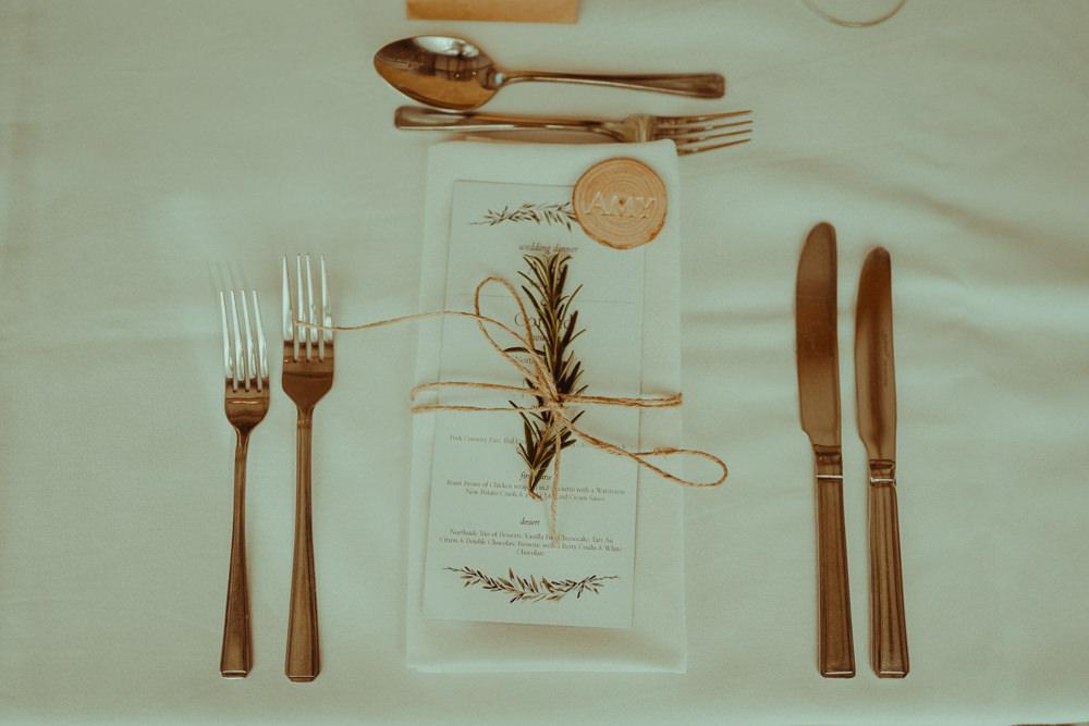 Place Setting Twine Stationery Menu Log Slice Rosemary Northside Farm Wedding Belle Art Photography