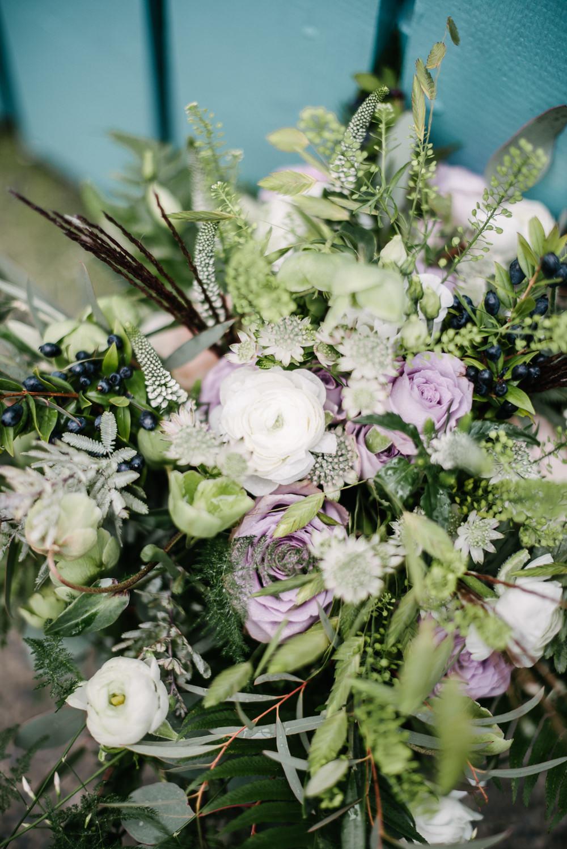 Bride Bridal Bouquet Foliage Greenery Purple Rose Berries Orange Tree House Wedding Winter You Them Us Photography
