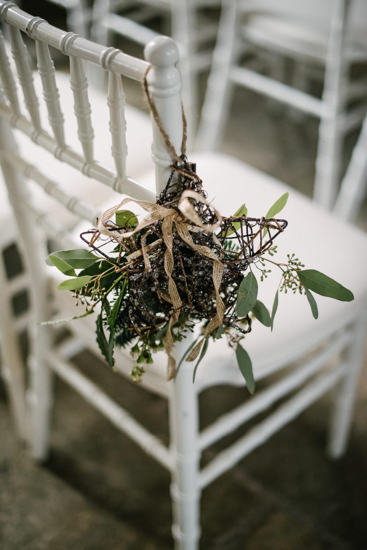 Aisle Pew End Raffia Hanging Foliage Orange Tree House Wedding Winter You Them Us Photography