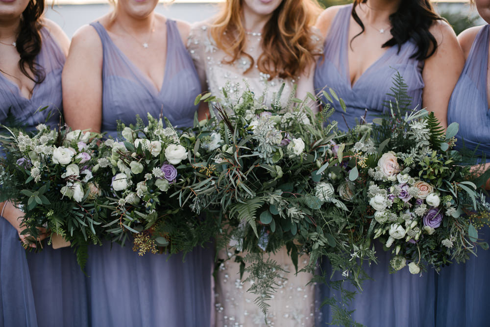 Bride Bridal Foliage Greenery Dusky Purple Rose Bouquet Orange Tree House Wedding Winter You Them Us Photography