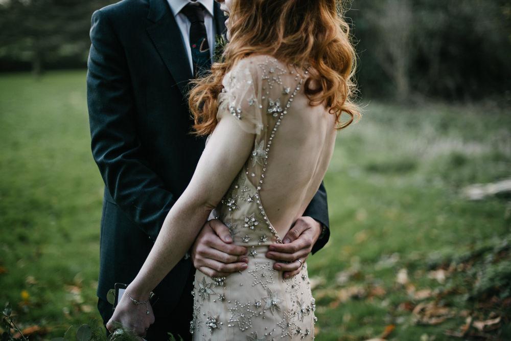Bride Bridal Jenny Packham Star Celestial Sparkle Embellishment Low Back Bottle Green Suit Groom Orange Tree House Wedding Winter You Them Us Photography