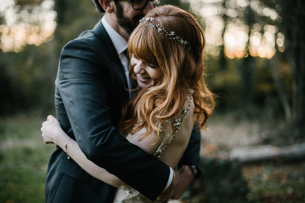 Bride Bridal Jenny Packham Star Celestial Sparkle Embellishment Headpiece Bottle Green Suit Groom Orange Tree House Wedding Winter You Them Us Photography
