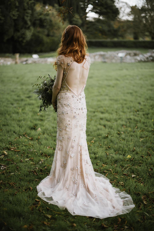 Bride Bridal Jenny Packham Star Celestial Sparkle Embellishment Headpiece Low Back Orange Tree House Wedding Winter You Them Us Photography